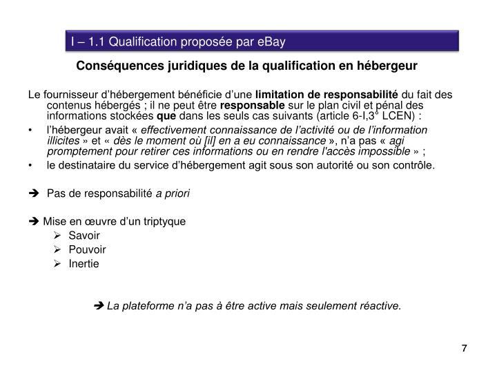 I – 1.1 Qualification proposée par eBay