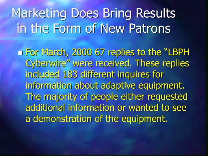 Marketing Does Bring Results in the Form of New Patrons