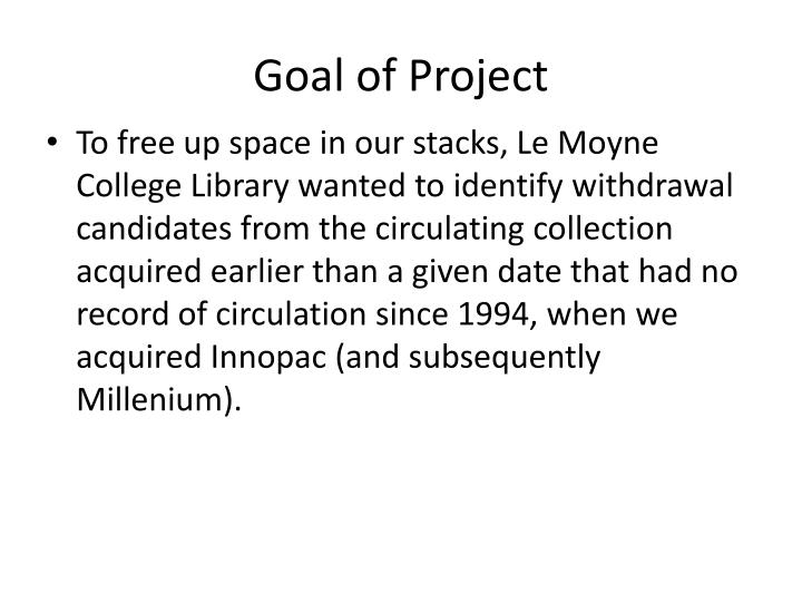 Goal of Project