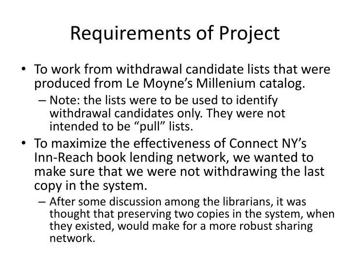 Requirements of Project