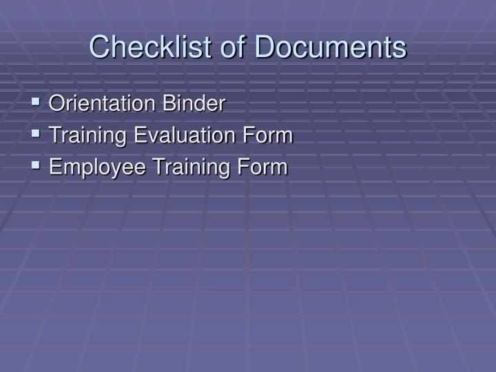 Checklist of Documents