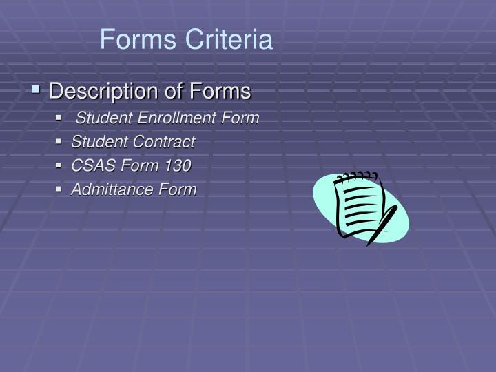 Forms Criteria