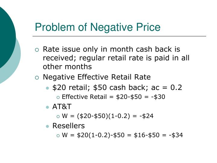 Problem of Negative Price