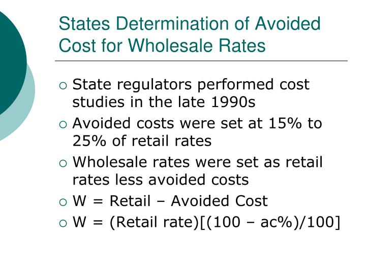 States Determination of Avoided Cost for Wholesale Rates