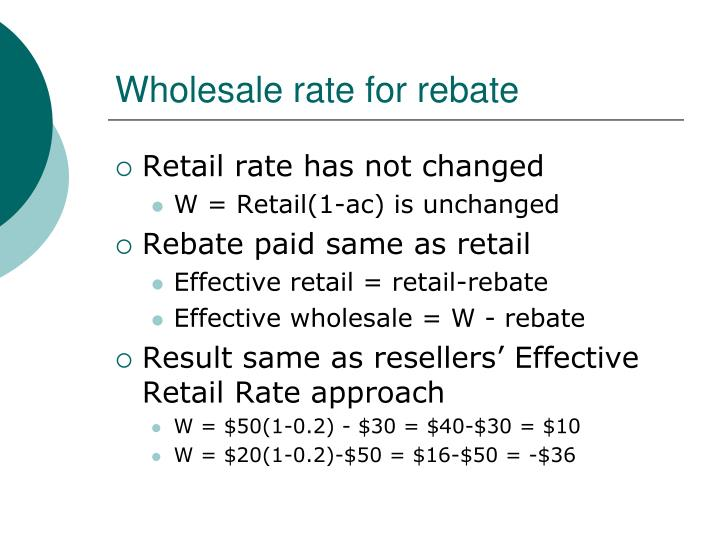 Wholesale rate for rebate
