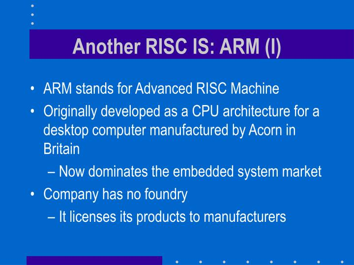 Another RISC IS: ARM (I)