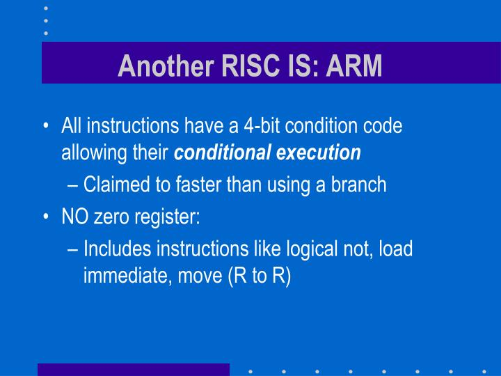 Another RISC IS: ARM
