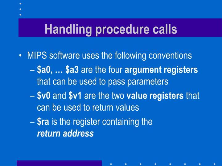 Handling procedure calls