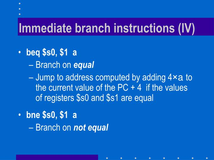Immediate branch instructions (IV)
