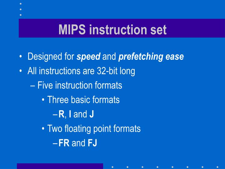 MIPS instruction set