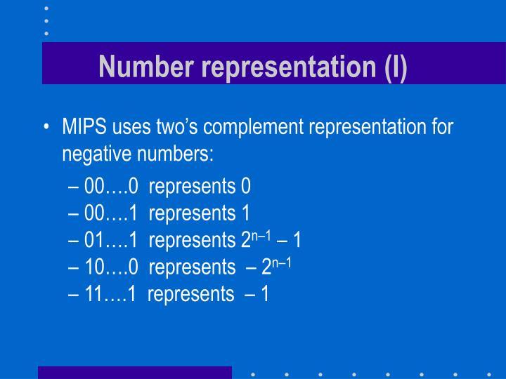 Number representation (I)