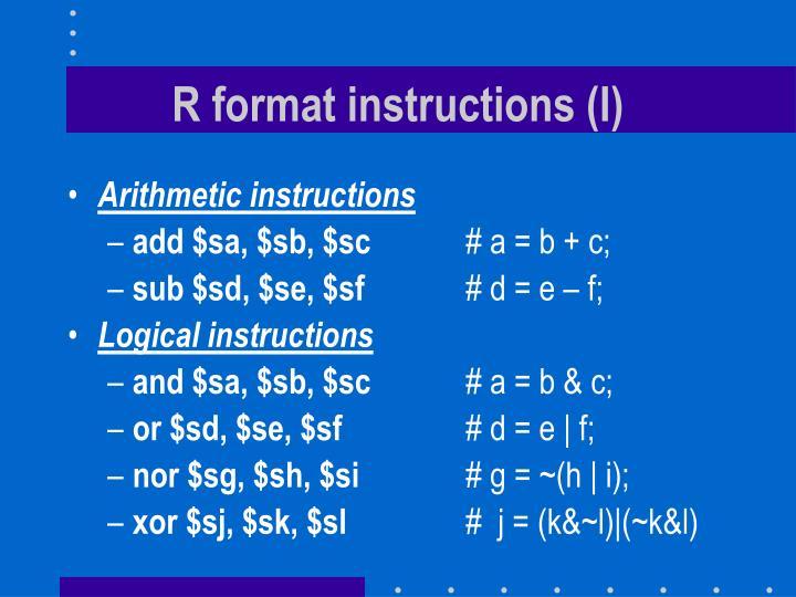 R format instructions (I)