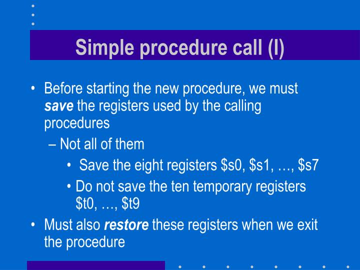 Simple procedure call (I)