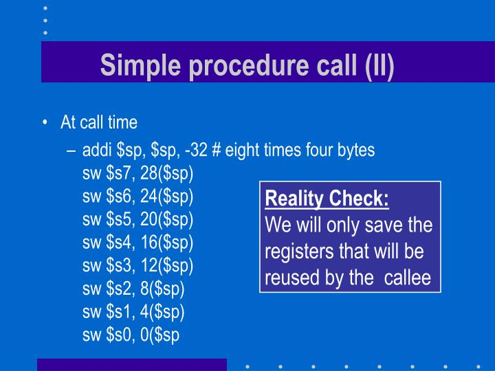 Simple procedure call (II)