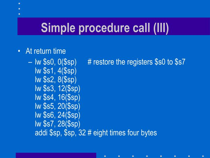 Simple procedure call (III)