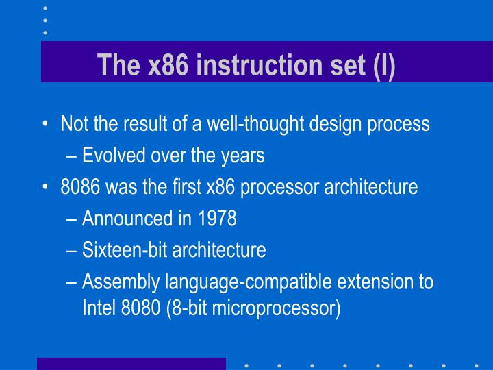 The x86 instruction set (I)