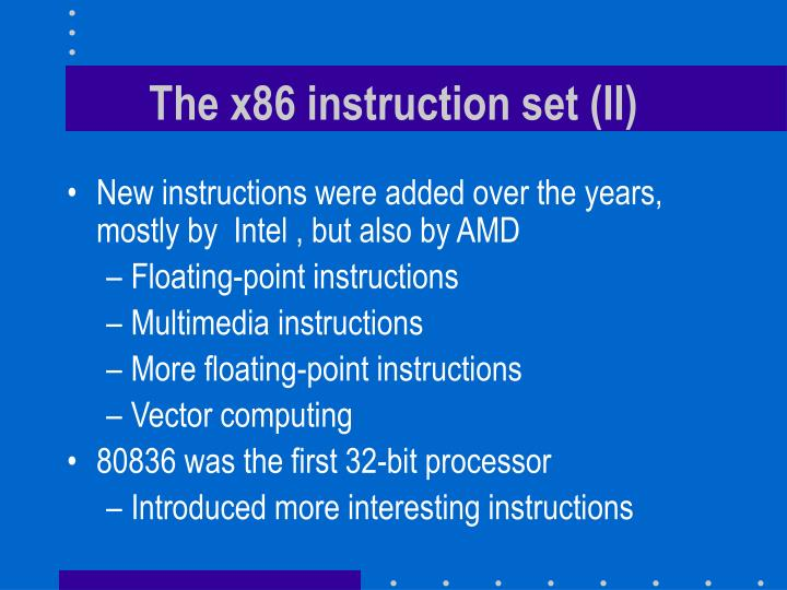 The x86 instruction set (II)