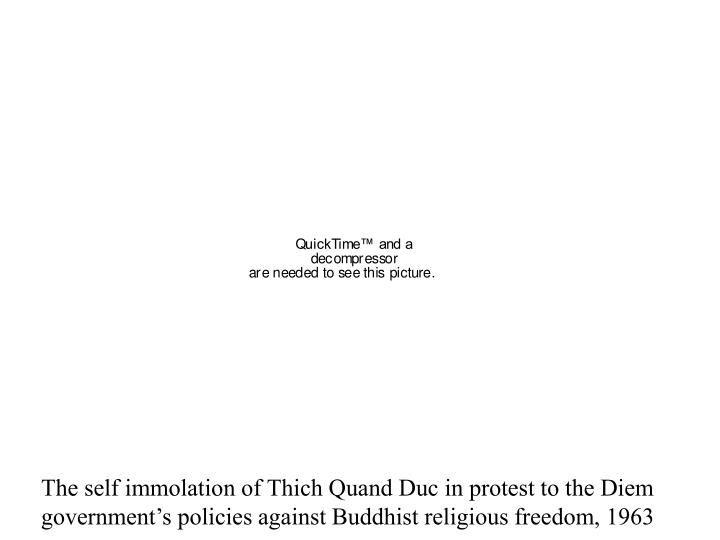 The self immolation of Thich Quand Duc in protest to the Diem