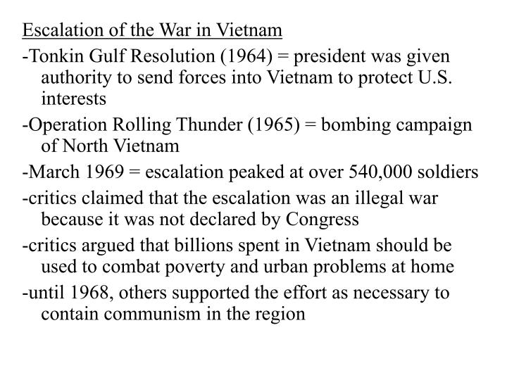 Escalation of the War in Vietnam