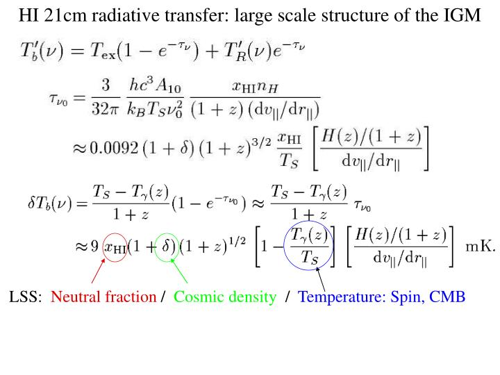 HI 21cm radiative transfer: large scale structure of the IGM