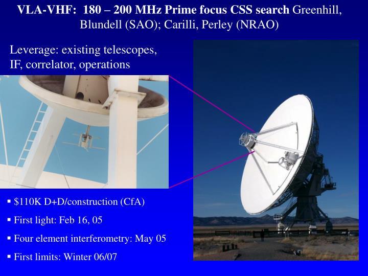 VLA-VHF:  180 – 200 MHz Prime focus CSS search