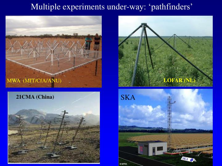 Multiple experiments under-way: 'pathfinders'