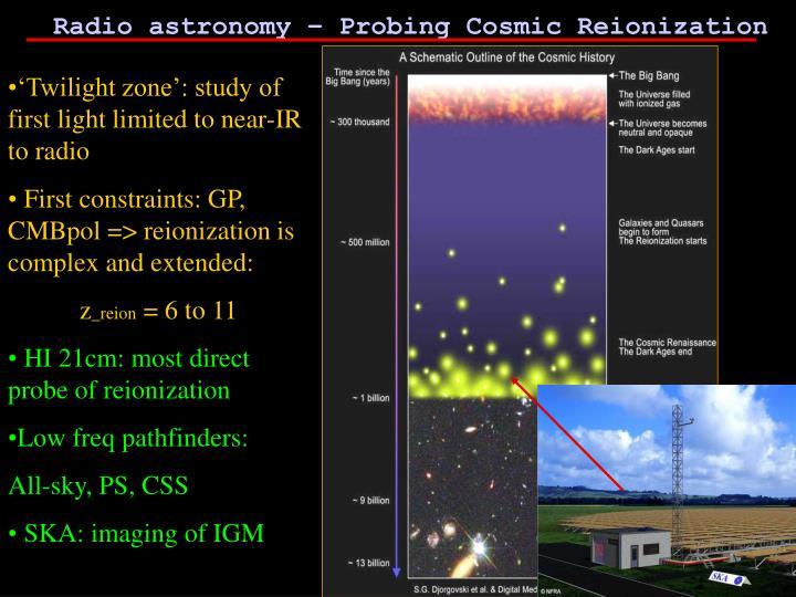 Radio astronomy – Probing Cosmic Reionization