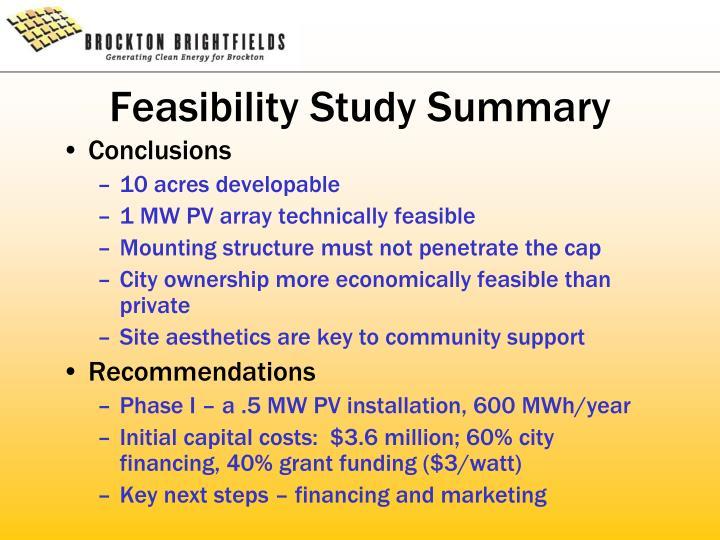 Feasibility Study Summary