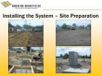 installing the system site preparation