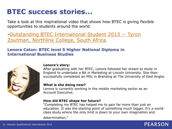 BTEC success stories...