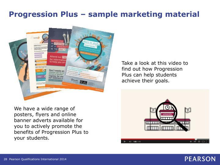 Progression Plus – sample marketing material