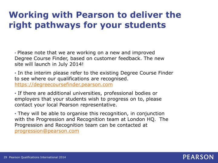 Working with Pearson to deliver the right pathways for your students