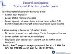 general conclusions divide and rule for greater power