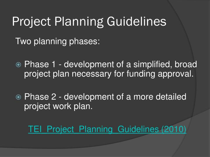 Project Planning Guidelines
