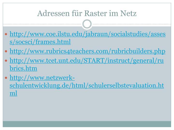 Adressen für Raster im Netz