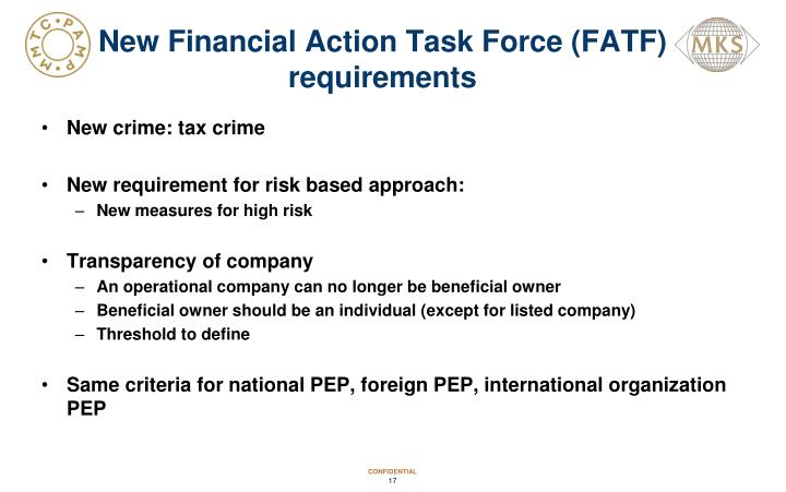 New Financial Action Task Force (FATF) requirements