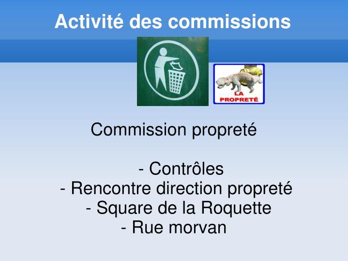 Activité des commissions