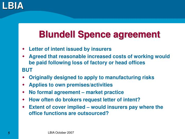 Blundell Spence agreement