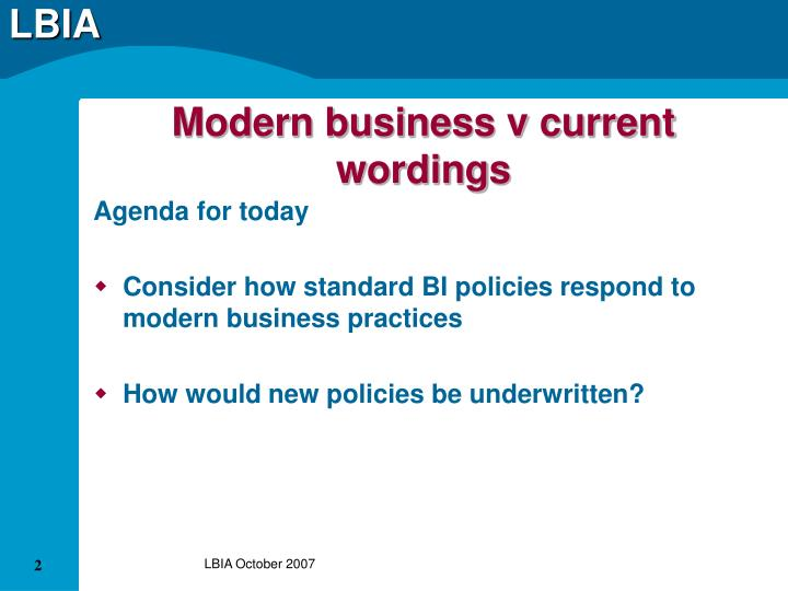 Modern business v current wordings