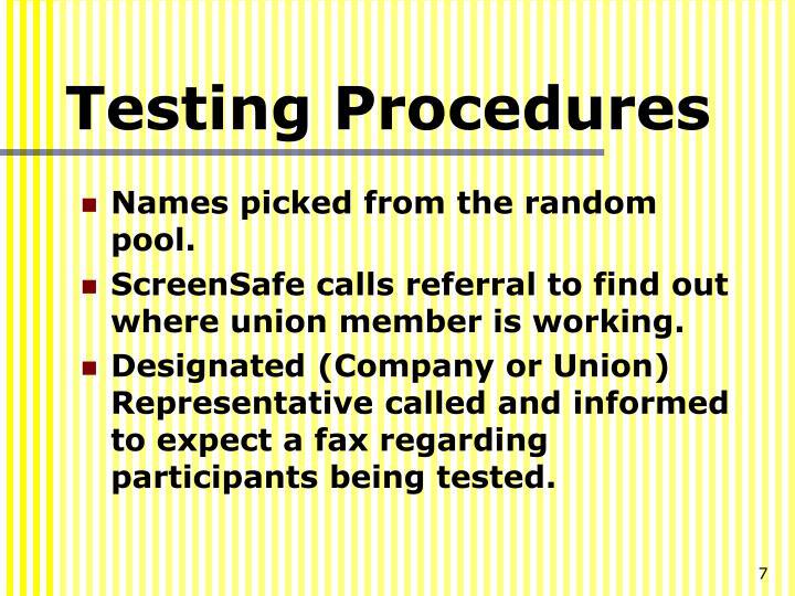 Testing Procedures