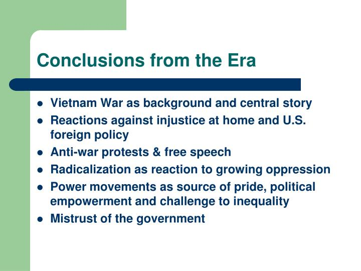 Conclusions from the Era