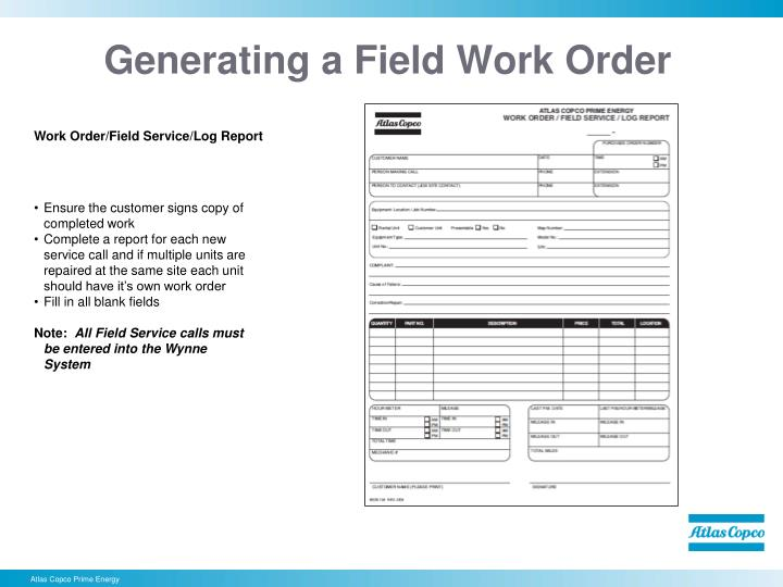 Generating a Field Work Order