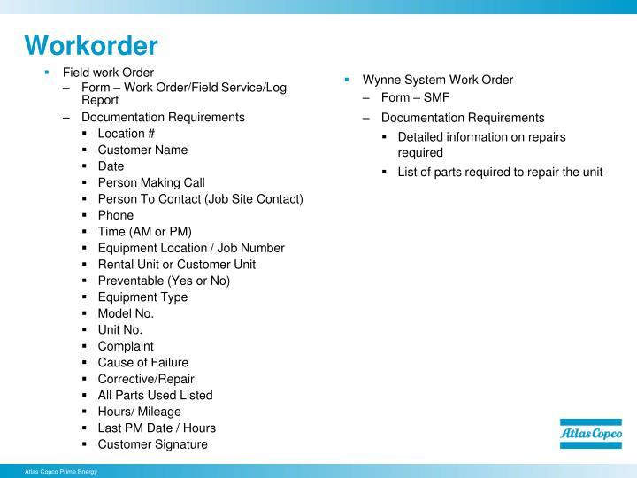 Field work Order