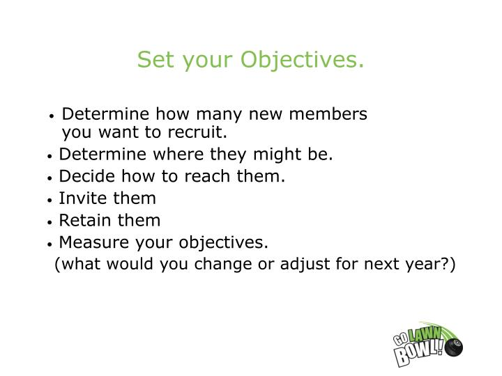 Set your Objectives.