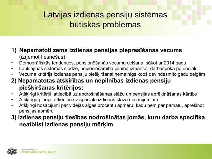 Latvijas izdienas pensiju sistēmas