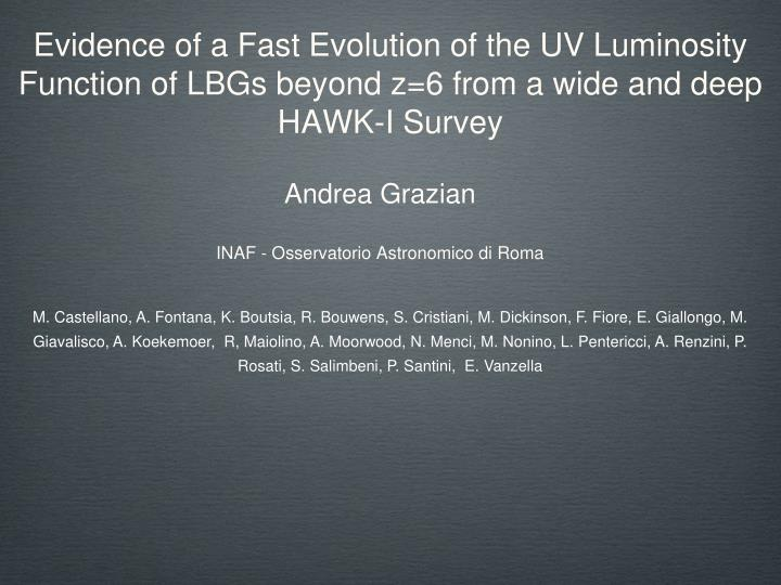 Evidence of a Fast Evolution of the UV Luminosity
