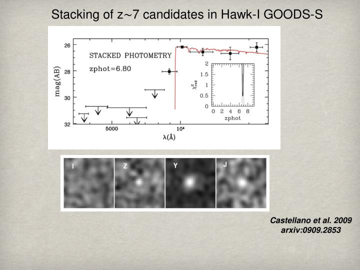 Stacking of z∼7 candidates in Hawk-I GOODS-S