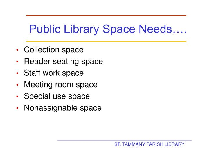 Public Library Space Needs….