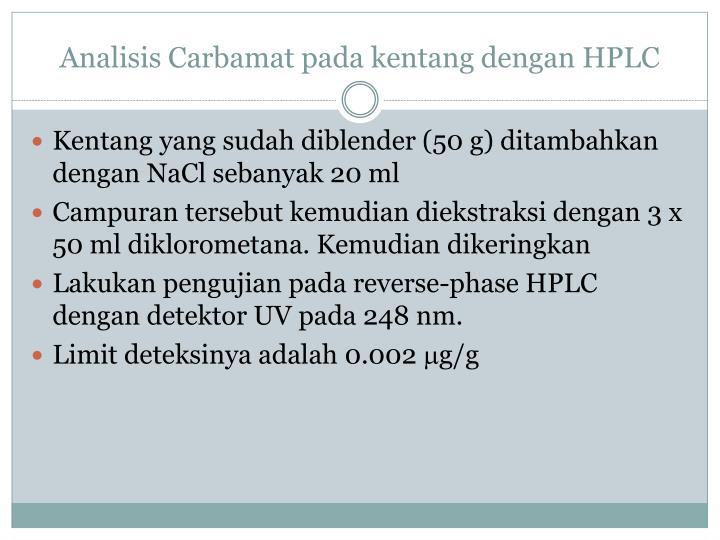 Analisis Carbamat pada kentang dengan HPLC