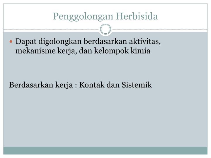 Penggolongan Herbisida